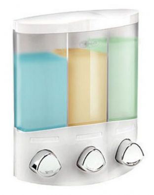 Croydex Euro Trio 3 Chambers White Wall Mounted Triple Shampoo Soap Dispenser